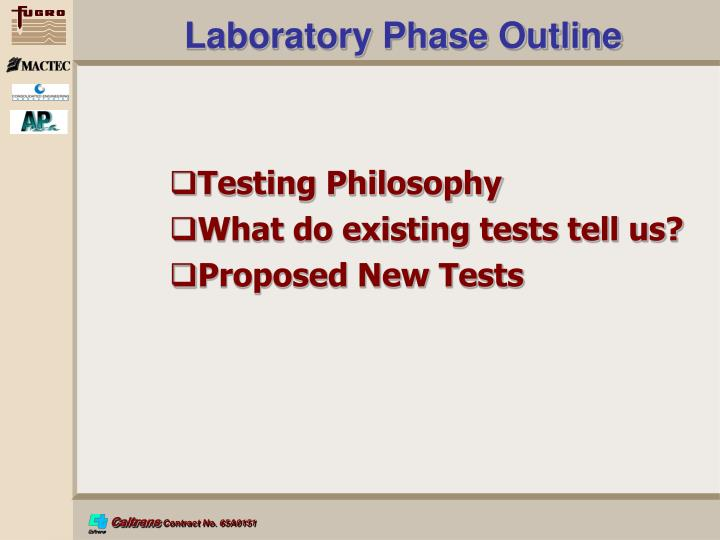 Laboratory Phase Outline