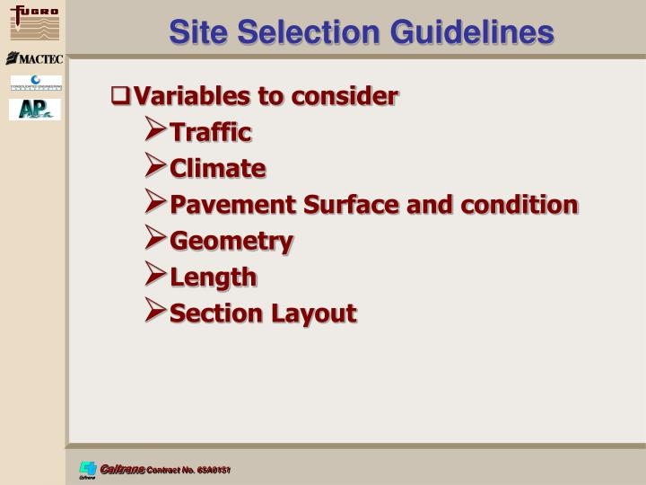 Site Selection Guidelines