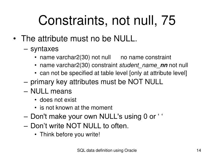 Constraints, not null, 75