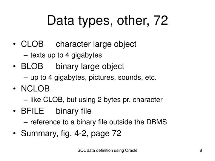 Data types, other, 72