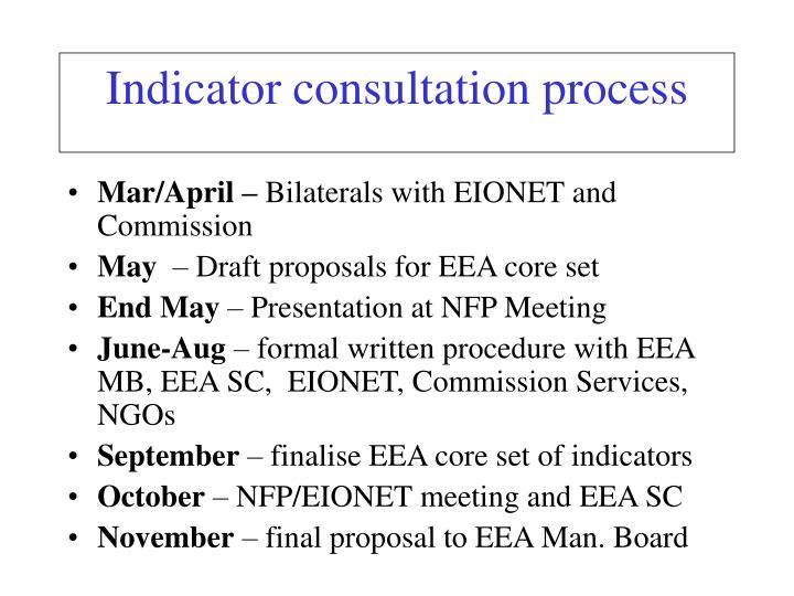 Indicator consultation process