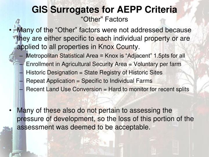 GIS Surrogates for AEPP Criteria