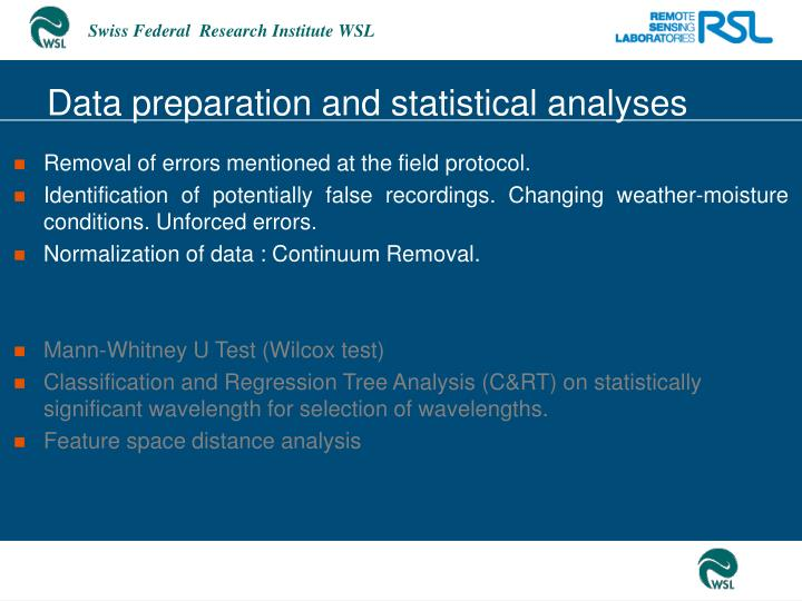 Data preparation and statistical analyses