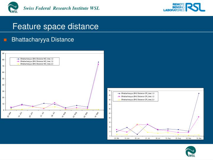 Feature space distance