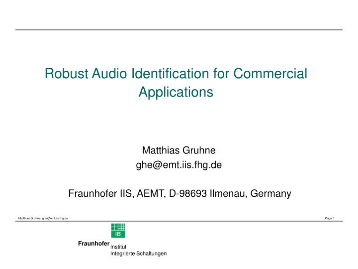 robust audio identification for commercial applications