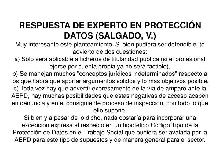 RESPUESTA DE EXPERTO EN PROTECCIÓN DATOS (SALGADO, V.)