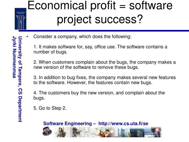 Economical profit = software project success?