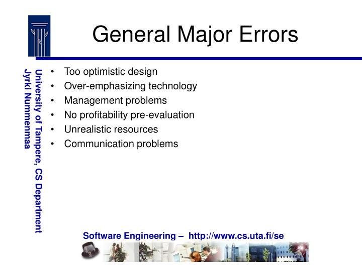 General Major Errors