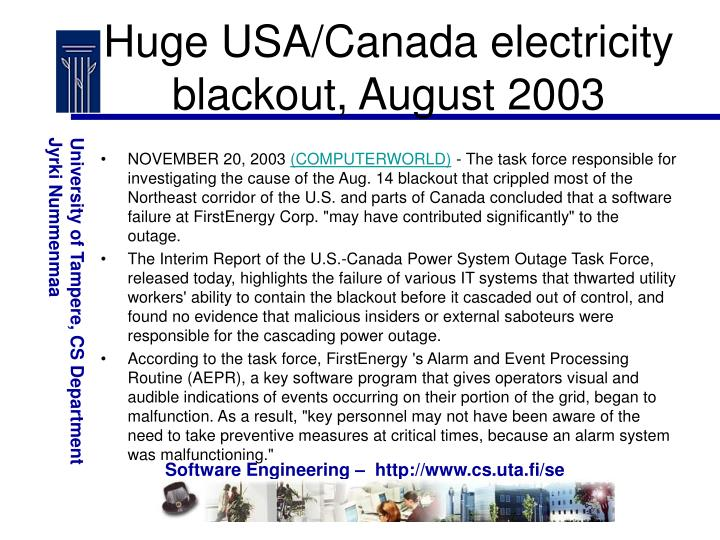 Huge USA/Canada electricity blackout, August 2003