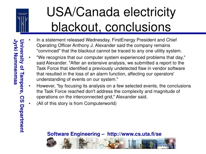 USA/Canada electricity blackout, conclusions