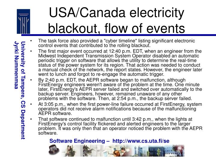 USA/Canada electricity blackout, flow of events