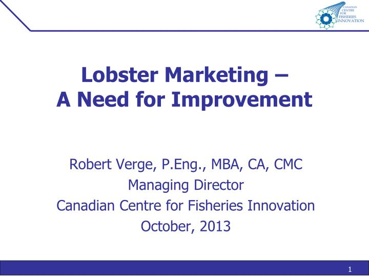 lobster marketing a need for improvement n.