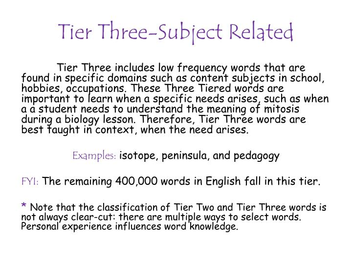 Tier Three-Subject Related