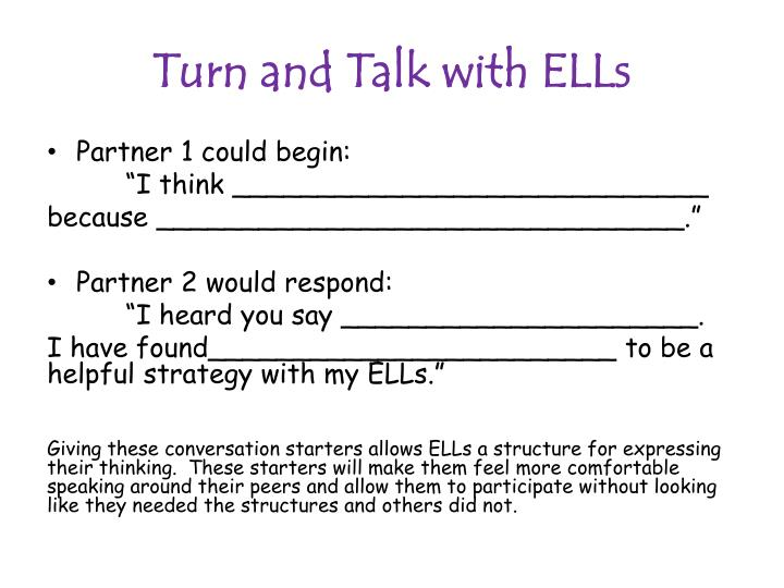 Turn and Talk with ELLs