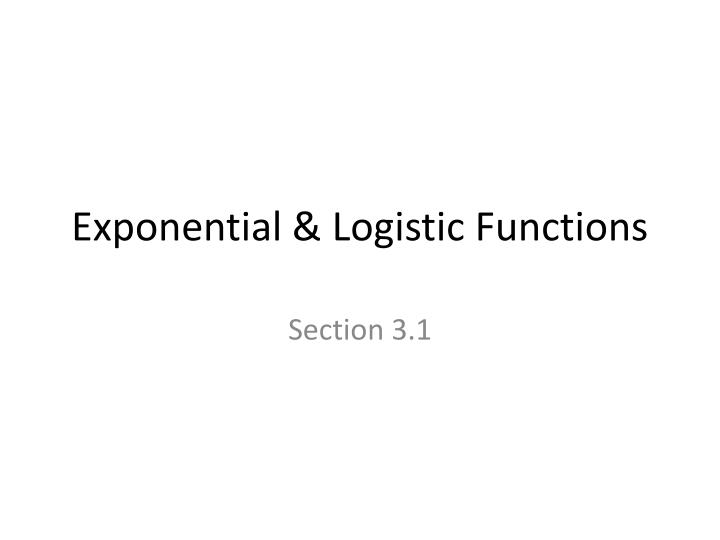 exponential logistic functions
