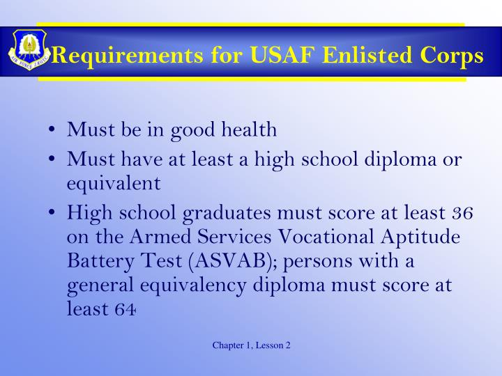 Requirements for USAF Enlisted Corps