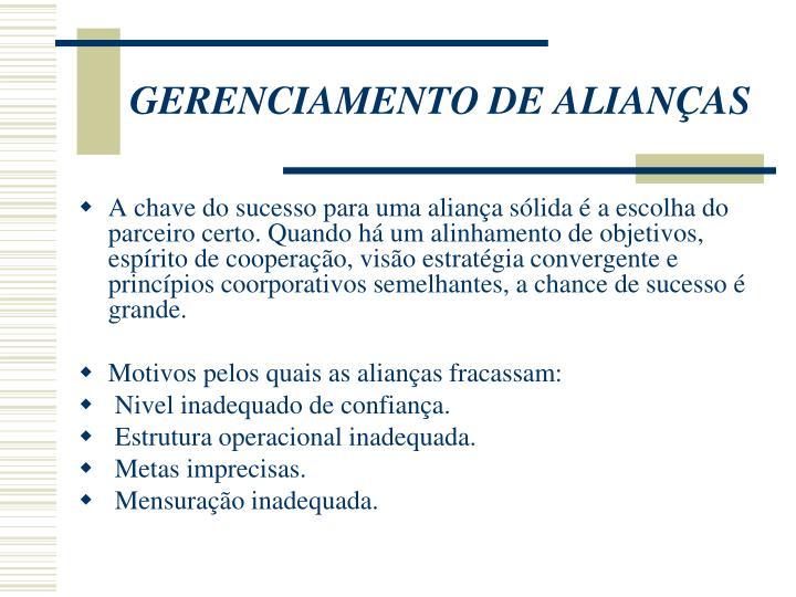 GERENCIAMENTO DE ALIANÇAS