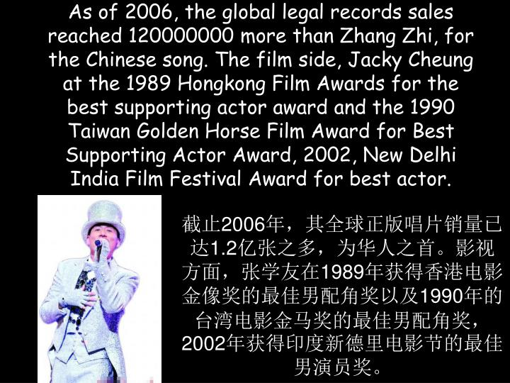 As of 2006, the global legal records sales reached 120000000 more than Zhang Zhi, for the Chinese song. The film side, Jacky Cheung at the 1989 Hongkong Film Awards for the best supporting actor award and the 1990 Taiwan Golden Horse Film Award for Best Supporting Actor Award, 2002, New Delhi India Film Festival Award for best actor.