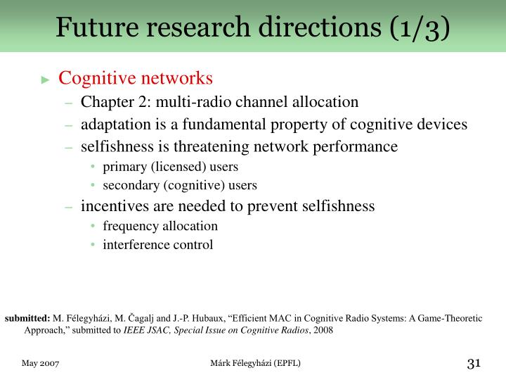 Future research directions (1/3)