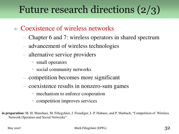 Future research directions (2/3)
