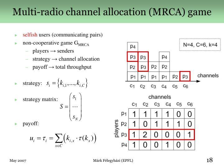 Multi-radio channel allocation (MRCA) game