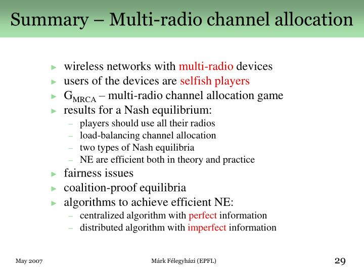 Summary – Multi-radio channel allocation