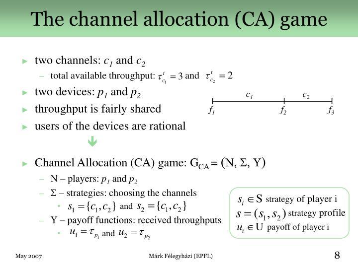 The channel allocation (CA) game