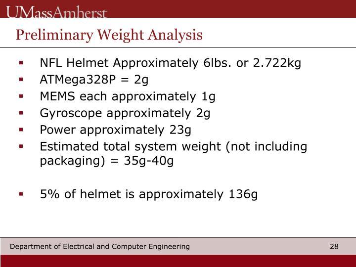 Preliminary Weight Analysis