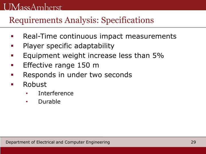 Requirements Analysis: Specifications
