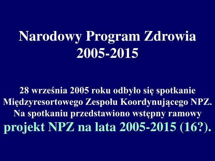 Narodowy Program Zdrowia 2005-2015