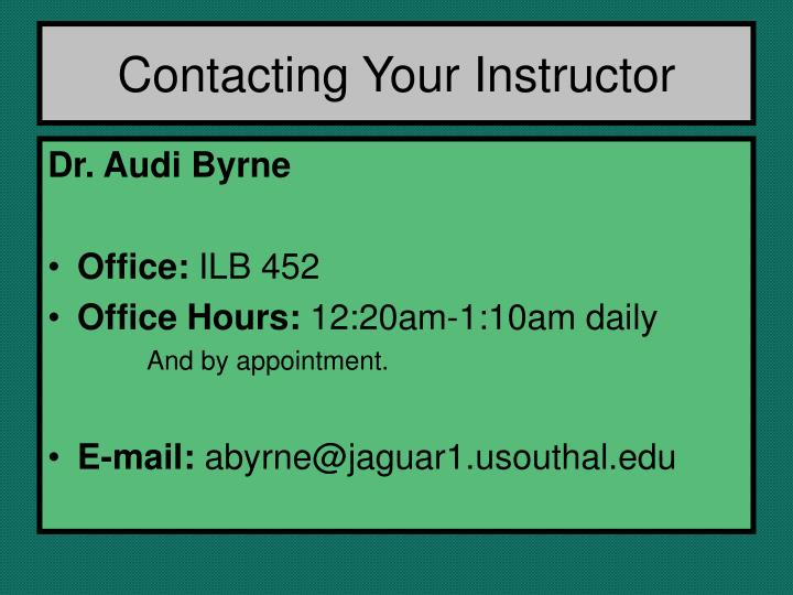 Contacting Your Instructor
