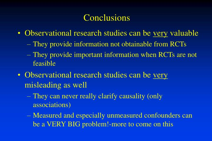 Observational research studies can be