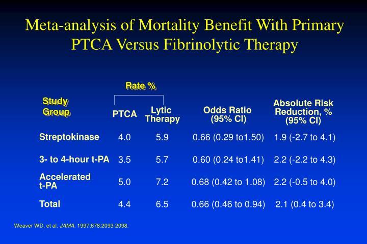 Meta-analysis of Mortality Benefit With Primary PTCA Versus Fibrinolytic Therapy