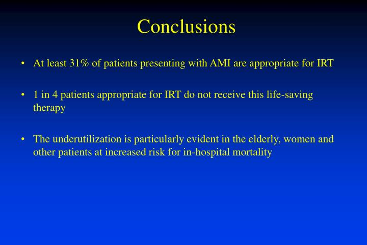At least 31% of patients presenting with AMI are appropriate for IRT