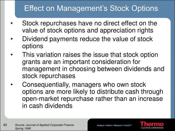 Effect on Management's Stock Options