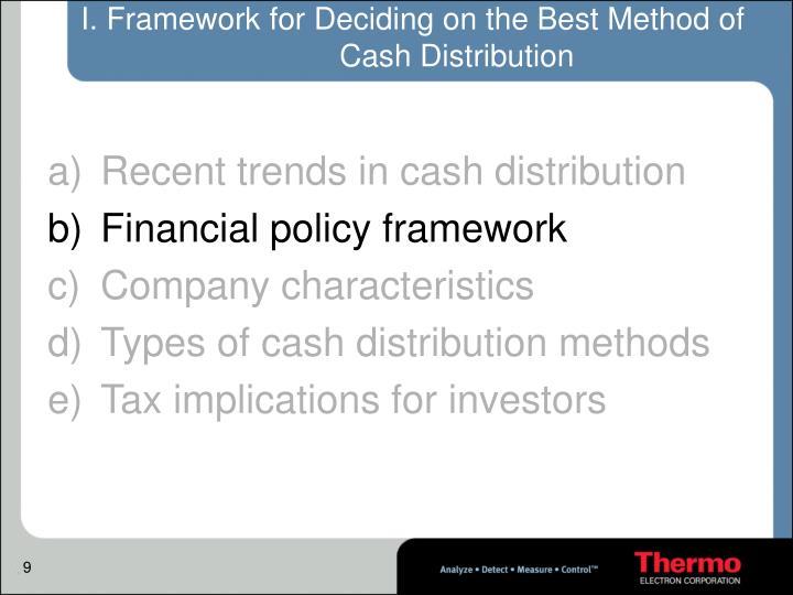 I. Framework for Deciding on the Best Method of Cash Distribution