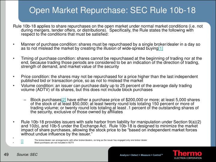 Open Market Repurchase: SEC Rule 10b-18