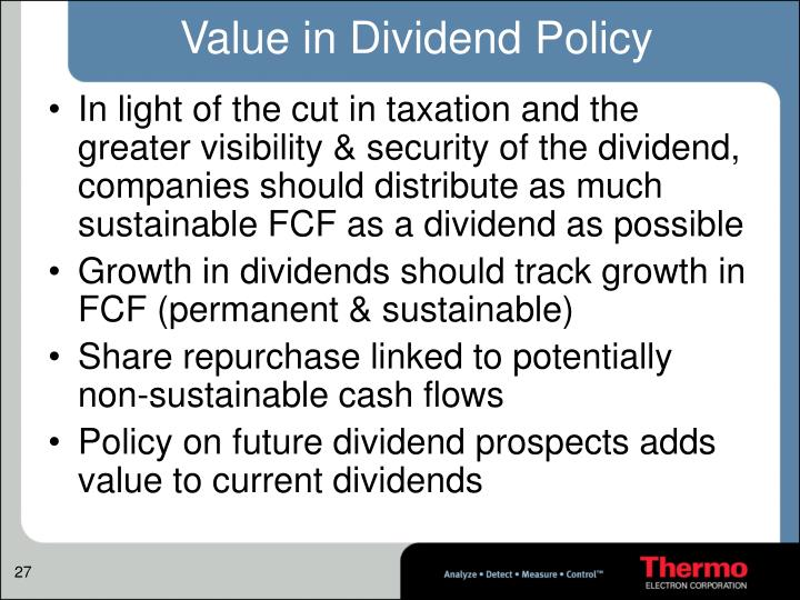 Value in Dividend Policy