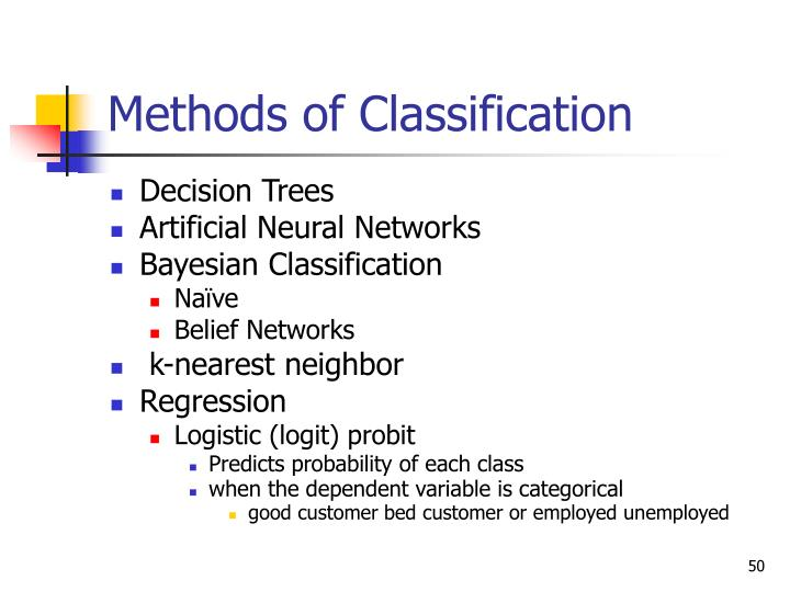 Methods of Classification