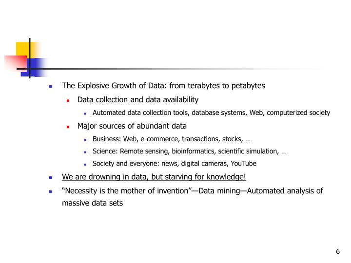 The Explosive Growth of Data: from terabytes to petabytes