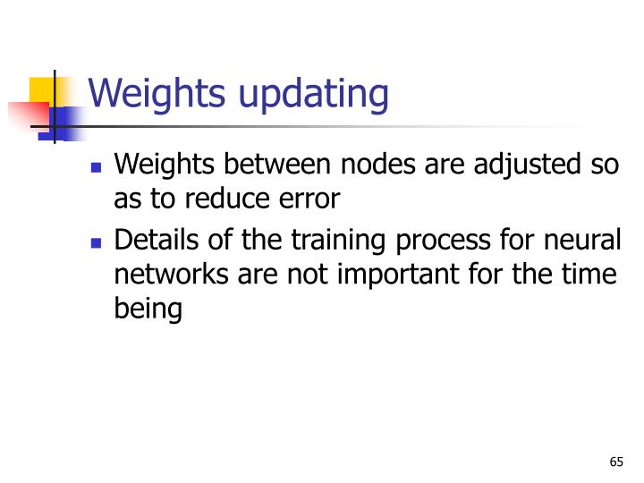 Weights updating
