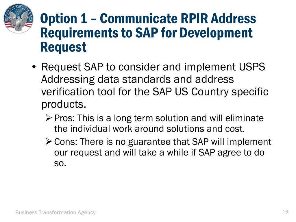 PPT - RPIR Address Requirements and Options for GFEBS/SAP