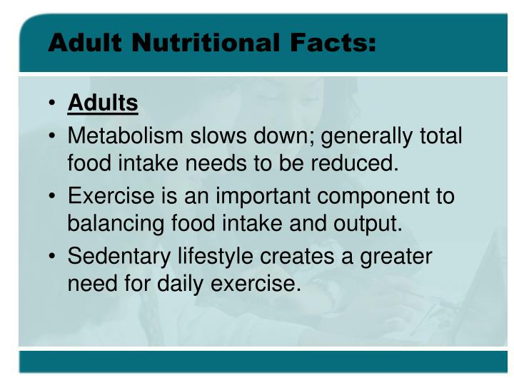 Adult nutritional facts