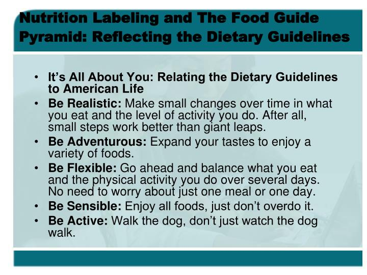 Nutrition Labeling and The Food Guide Pyramid: Reflecting the Dietary Guidelines