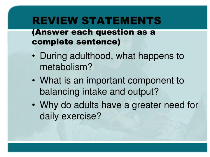 REVIEW STATEMENTS