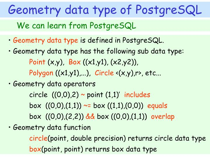 We can learn from PostgreSQL