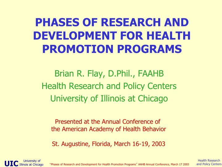 phases of research and development for health promotion programs n.