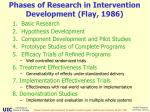 phases of research in intervention development flay 1986