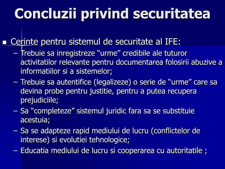 Concluzii privind securitatea