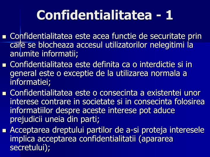 Confidentialitatea - 1